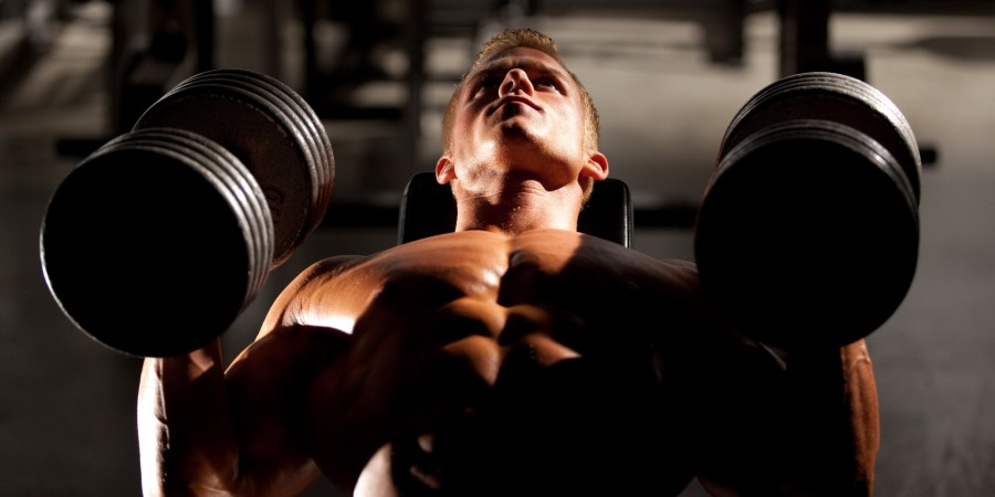 bodybuilders bench pressing