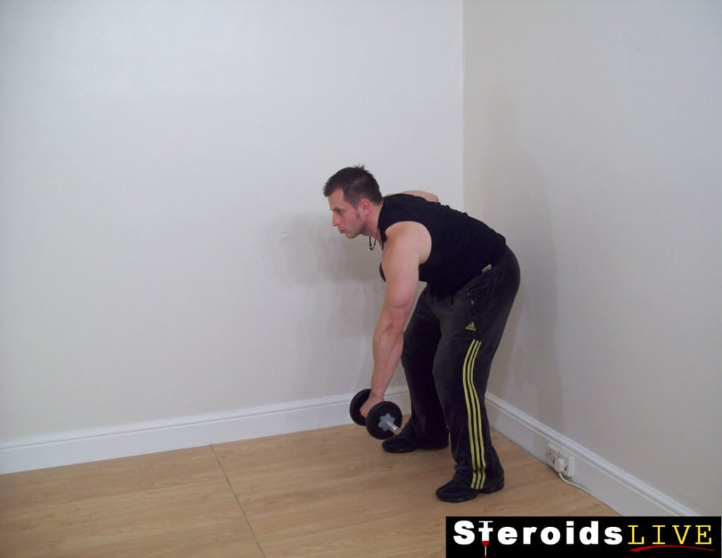 alt bent knee dumbbell rotation rows starting