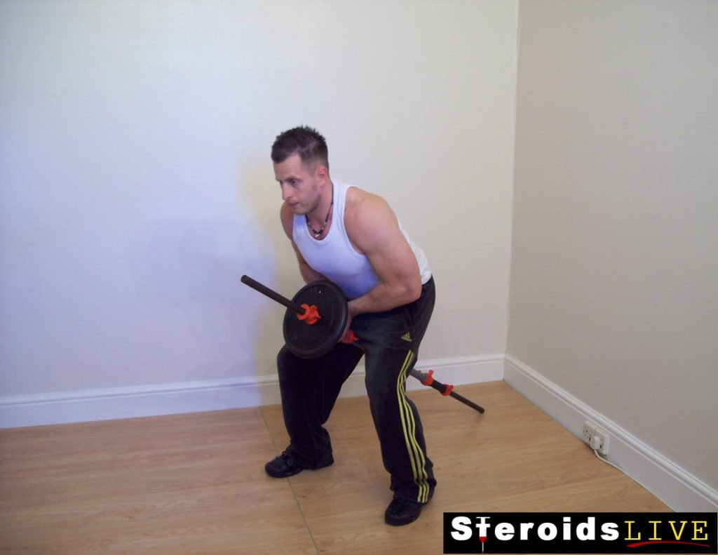 bent knee close grip row finishing