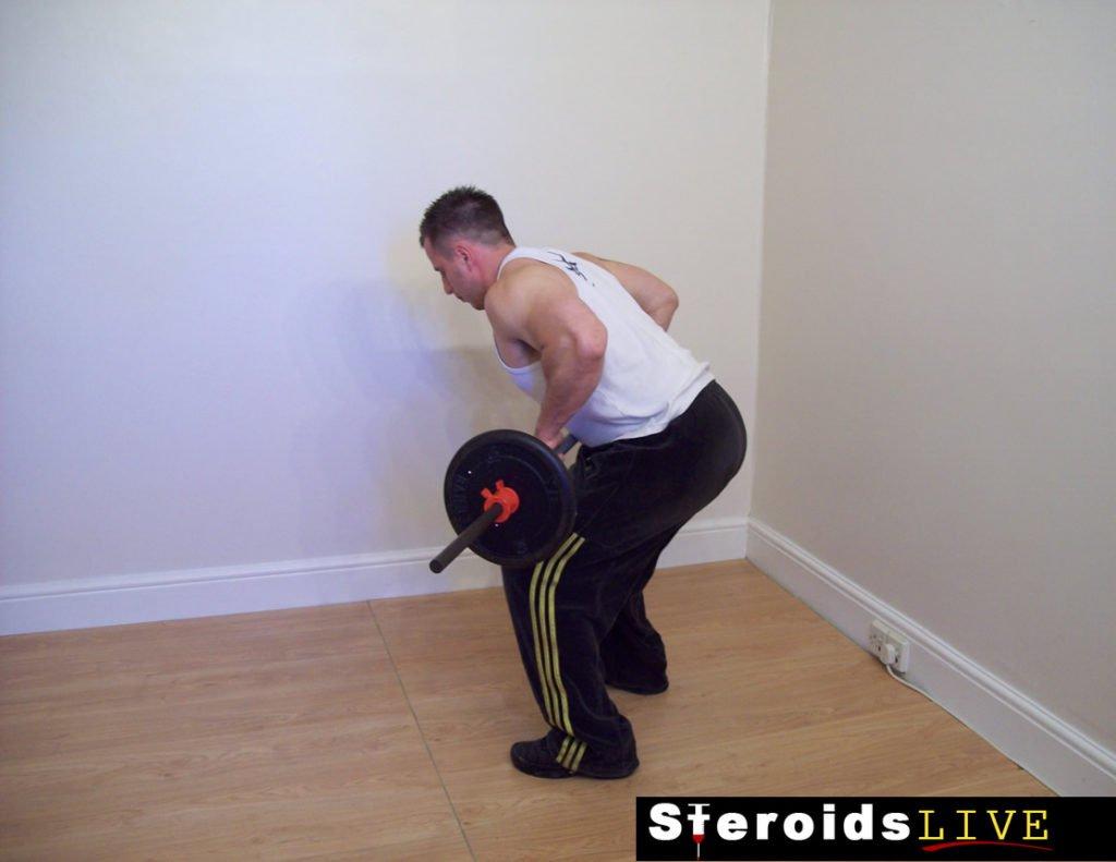 straight grip bent knee barbell row finishing
